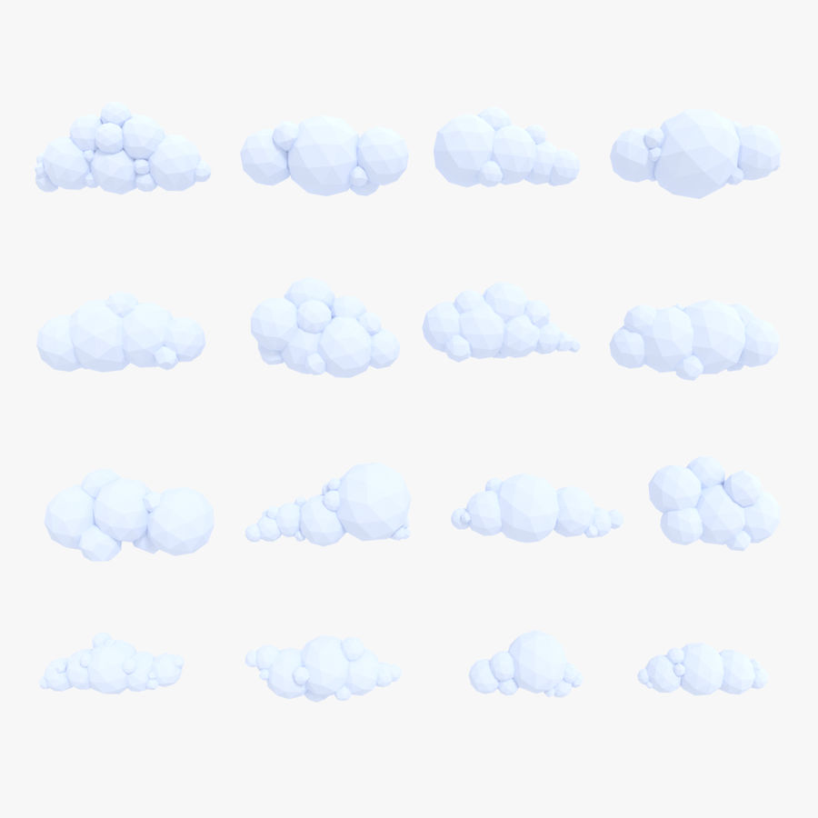Pack de nuages LowPoly royalty-free 3d model - Preview no. 1
