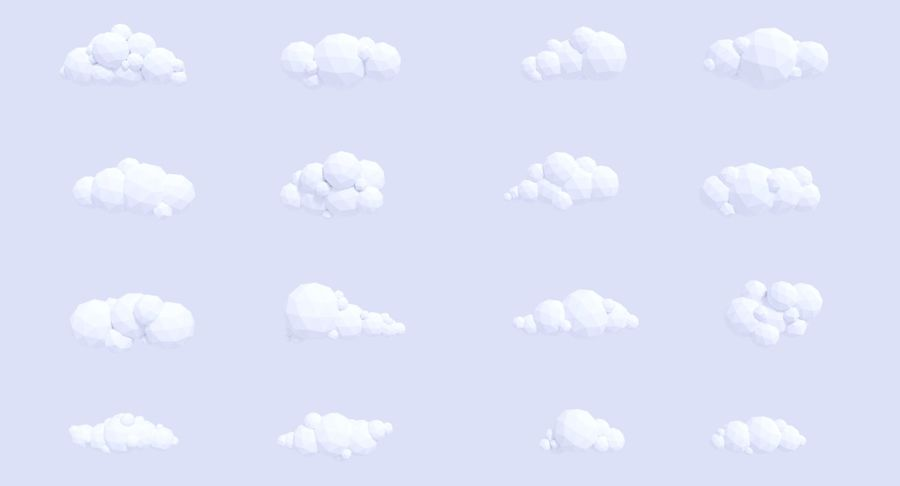 Pack de nuages LowPoly royalty-free 3d model - Preview no. 4