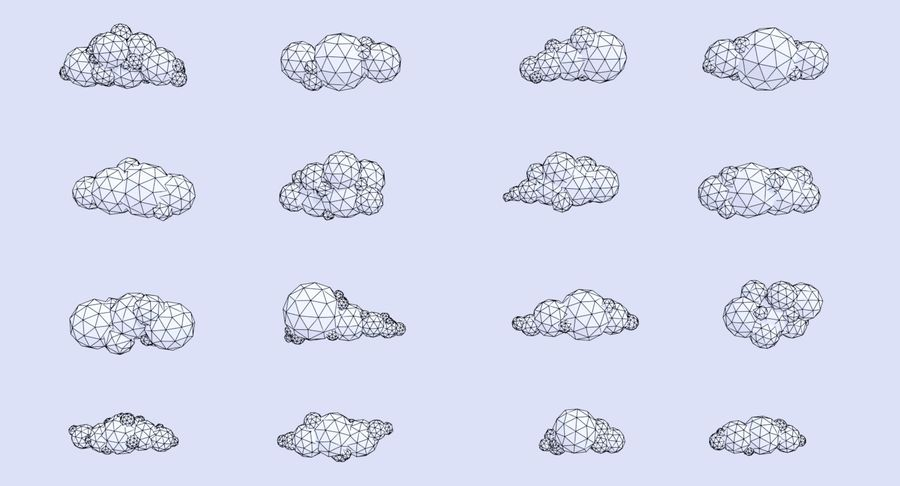 Pack de nuages LowPoly royalty-free 3d model - Preview no. 6