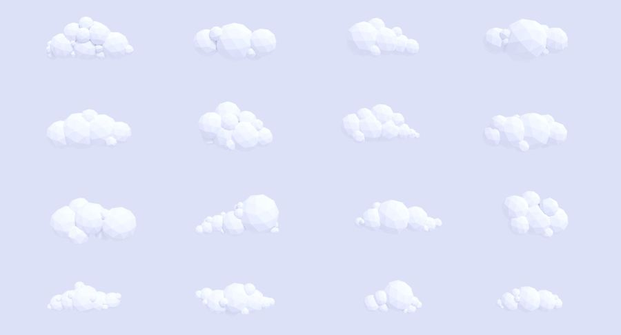 Pack de nuages LowPoly royalty-free 3d model - Preview no. 3