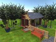 Casa de ovejas dentro de un jardín. modelo 3d