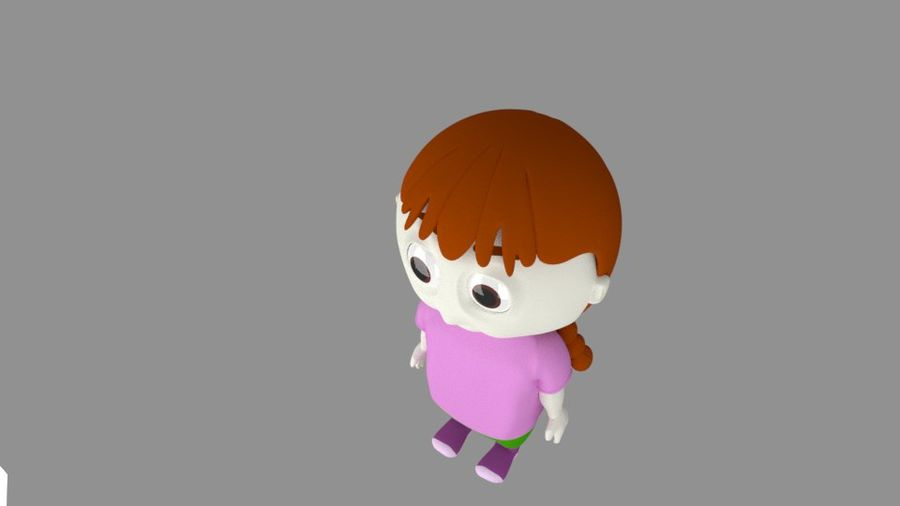 Girl Cartoon Character royalty-free 3d model - Preview no. 5