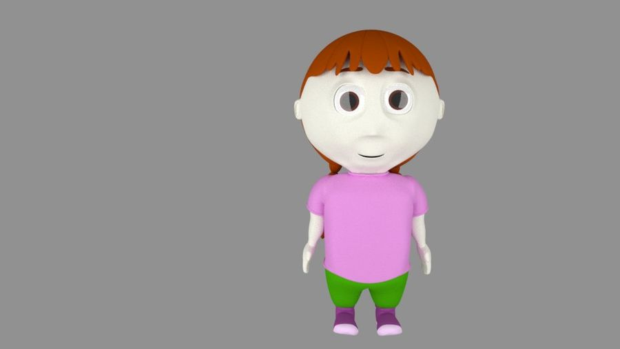Girl Cartoon Character royalty-free 3d model - Preview no. 1