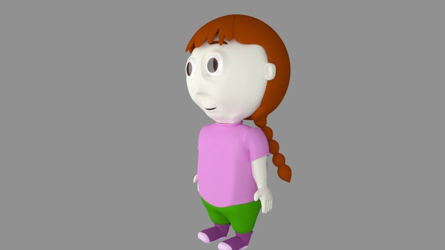 Girl Cartoon Character royalty-free 3d model - Preview no. 3