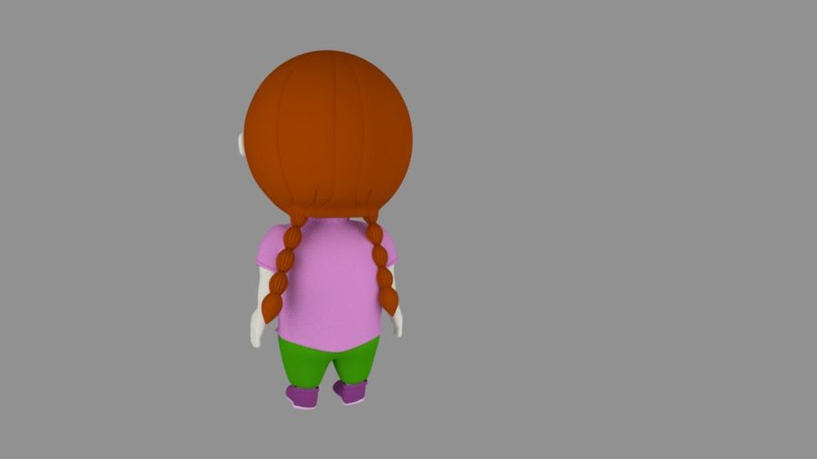 Girl Cartoon Character royalty-free 3d model - Preview no. 2