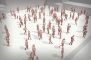 Tłum ludzi Lowpoly 3d model