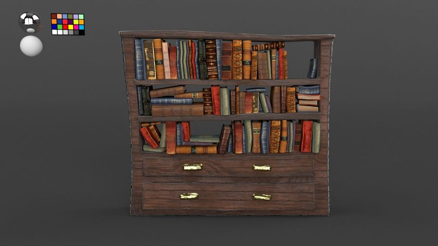 Bookshelf with books royalty-free 3d model - Preview no. 2