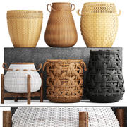 Basket Rattan set 3d model