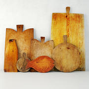 Antique Cutting Boards with Knife 3d model