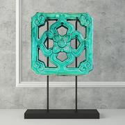 Smaragdgrüne chinesische glasierte Tempelfliese 3d model
