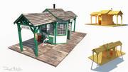 Zachodnia stacja kolejowa Low Poly 3d model