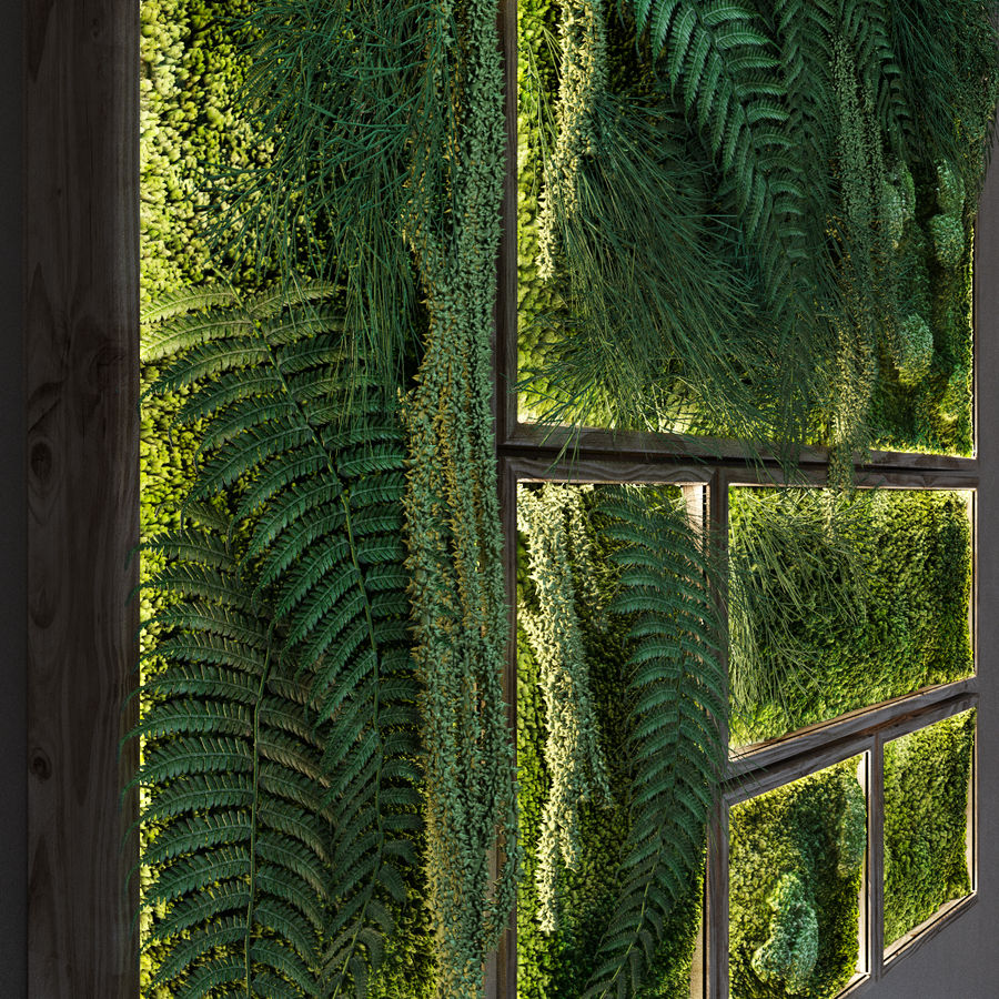 Moss and fern fytowall royalty-free 3d model - Preview no. 3