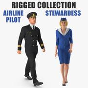 Coleção Rigged de Piloto de companhia aérea e aeromoça 3d model