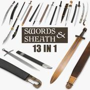 剣と剣のコレクション 3d model
