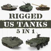 Rigged US Tanks 3D Models Collection 3d model