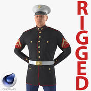 US Marine Corps Soldier i Parade Uniform Rigged för Cinema 4D 3D Model 3d model