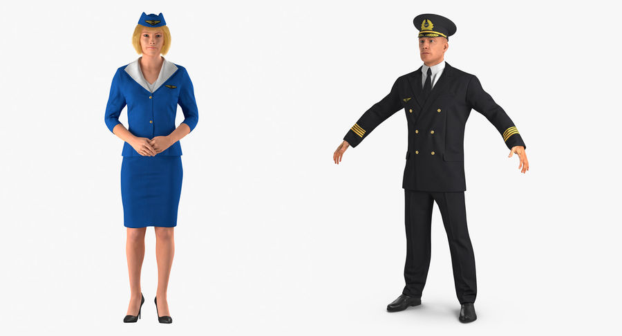 Airline Pilot and Stewardess 3D Models Collection royalty-free 3d model - Preview no. 2