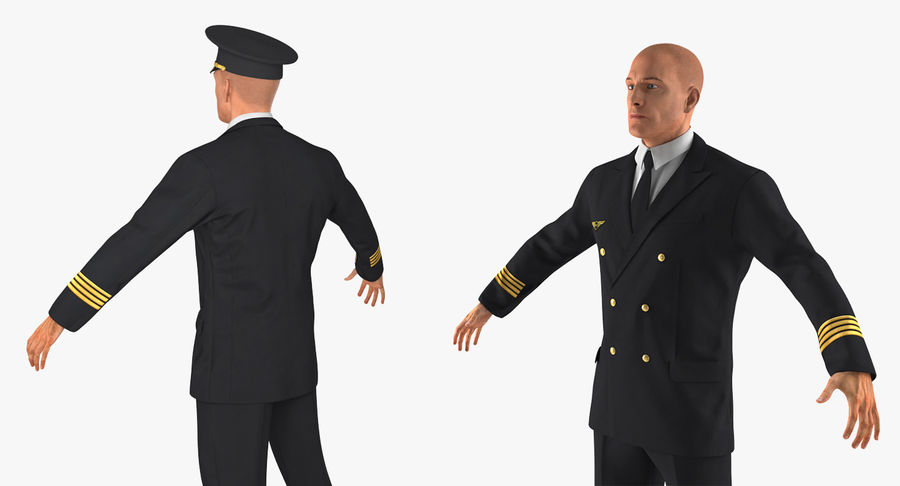 Airline Pilot and Stewardess 3D Models Collection royalty-free 3d model - Preview no. 6