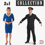 Airline Pilot and Stewardess 3D Models Collection 3d model