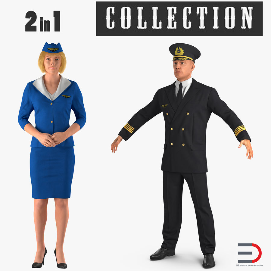 Airline Pilot and Stewardess 3D Models Collection royalty-free 3d model - Preview no. 1