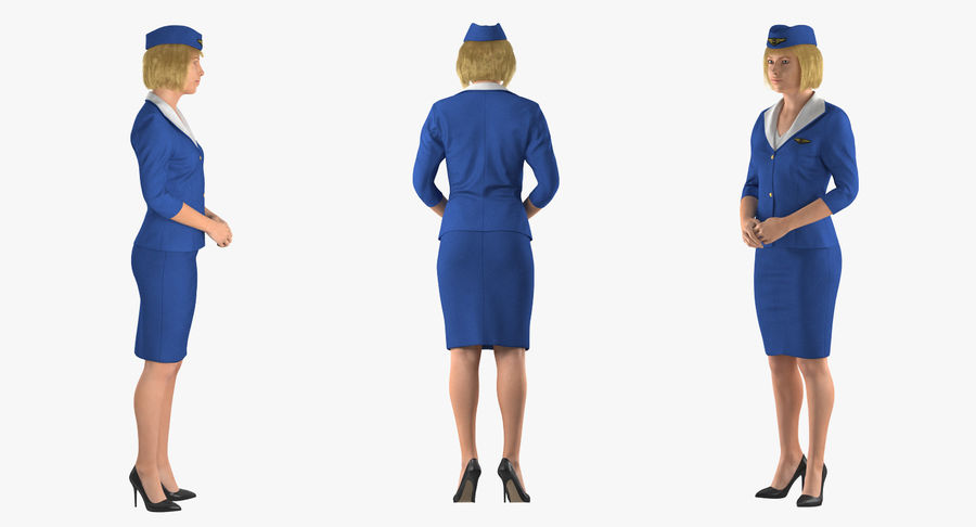 Airline Pilot and Stewardess 3D Models Collection royalty-free 3d model - Preview no. 14