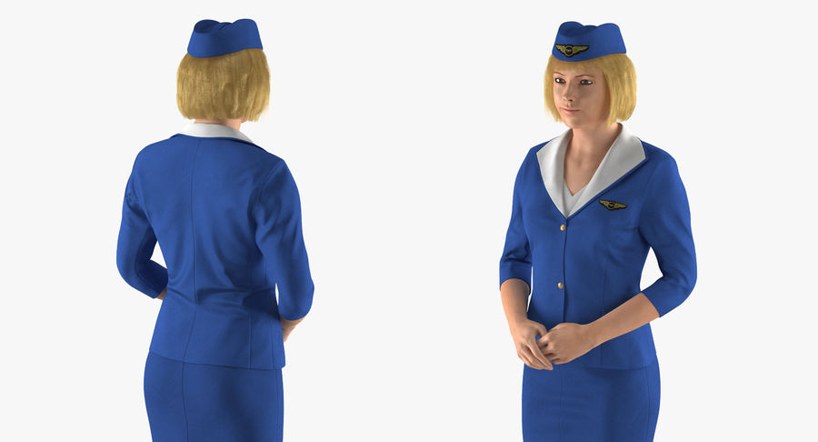 Airline Pilot and Stewardess 3D Models Collection royalty-free 3d model - Preview no. 16