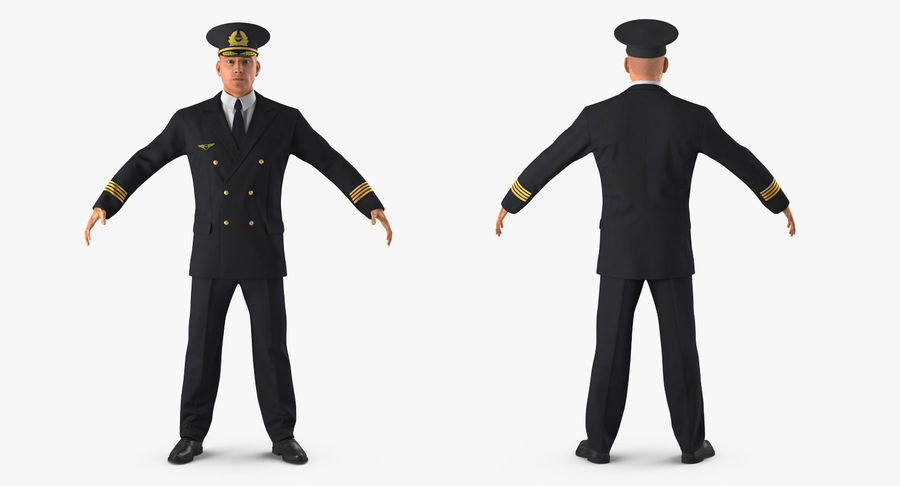 Airline Pilot and Stewardess 3D Models Collection royalty-free 3d model - Preview no. 4