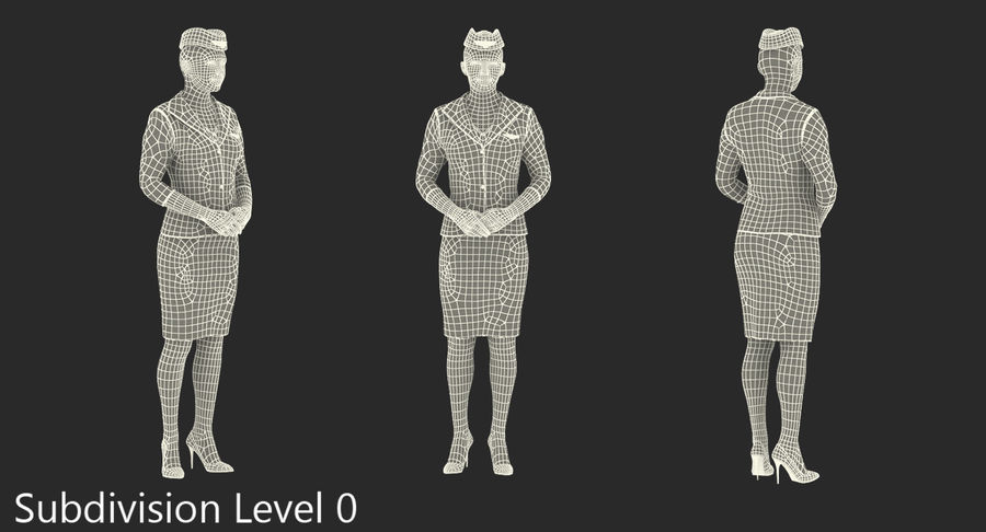 Airline Pilot and Stewardess 3D Models Collection royalty-free 3d model - Preview no. 19