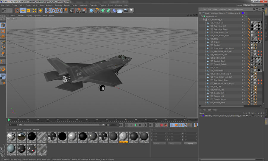 Stealth Multirole Fighter F-35 Lightning II royalty-free 3d model - Preview no. 19