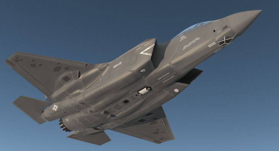 Stealth Multirole Fighter F-35 Lightning II royalty-free 3d model - Preview no. 3