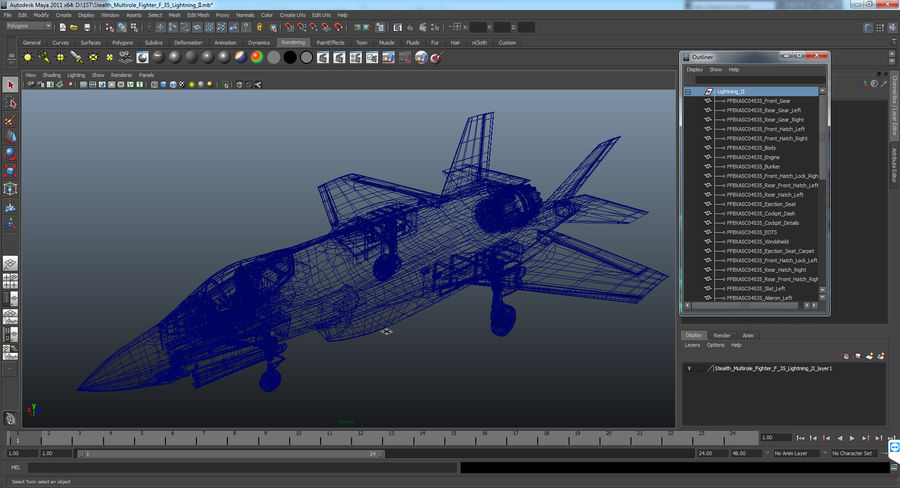Stealth Multirole Fighter F-35 Lightning II royalty-free 3d model - Preview no. 20