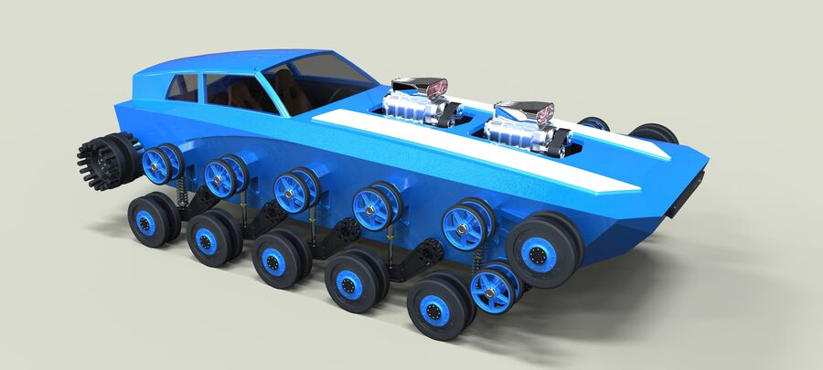 트랙에 근육 차 royalty-free 3d model - Preview no. 17