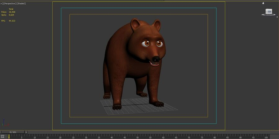Niedźwiedź kreskówka royalty-free 3d model - Preview no. 8