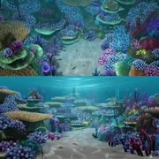 漫画の水中シーン 3d model