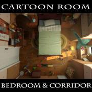 만화 침실 복도 3d model
