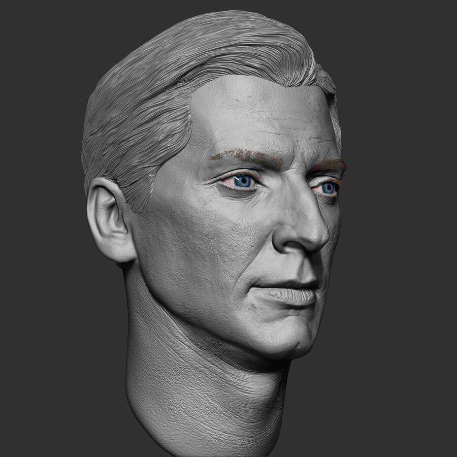 Caucasian Man Head royalty-free 3d model - Preview no. 9