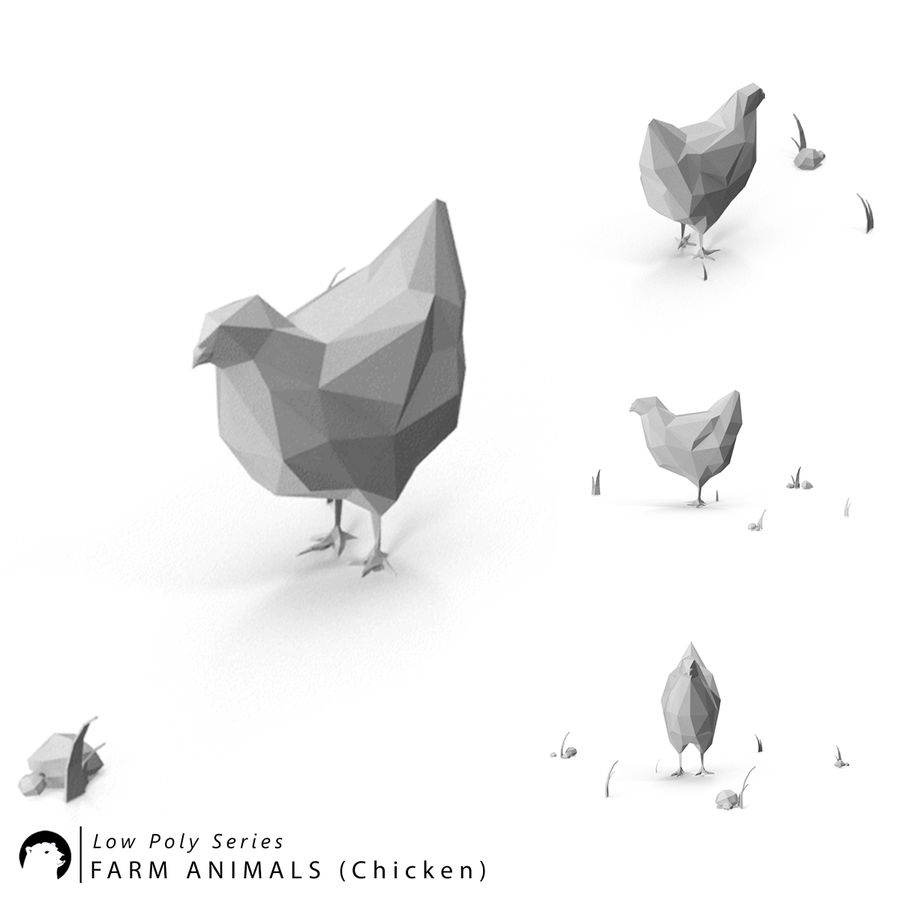 Animaux de Ferme Low Poly royalty-free 3d model - Preview no. 6