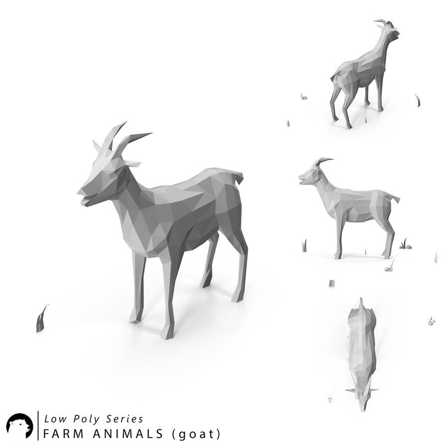 Animaux de Ferme Low Poly royalty-free 3d model - Preview no. 3