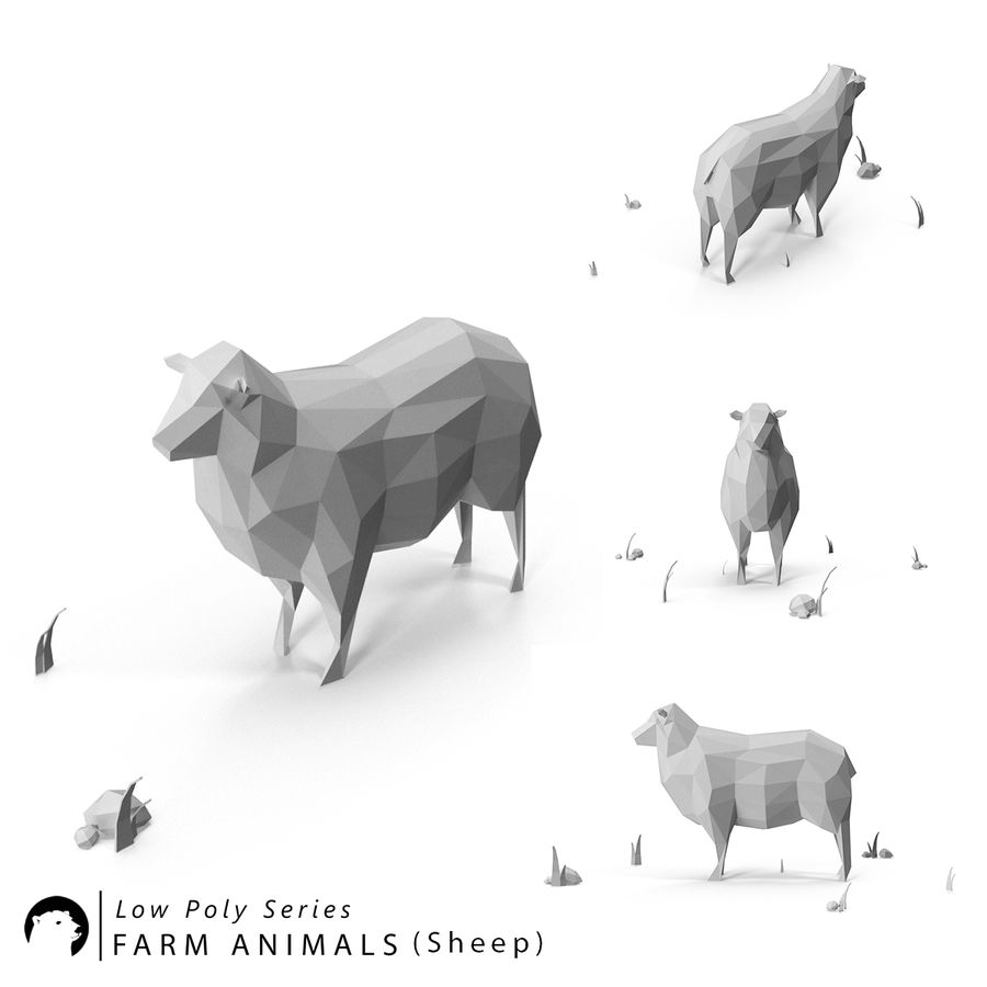 Animaux de Ferme Low Poly royalty-free 3d model - Preview no. 7