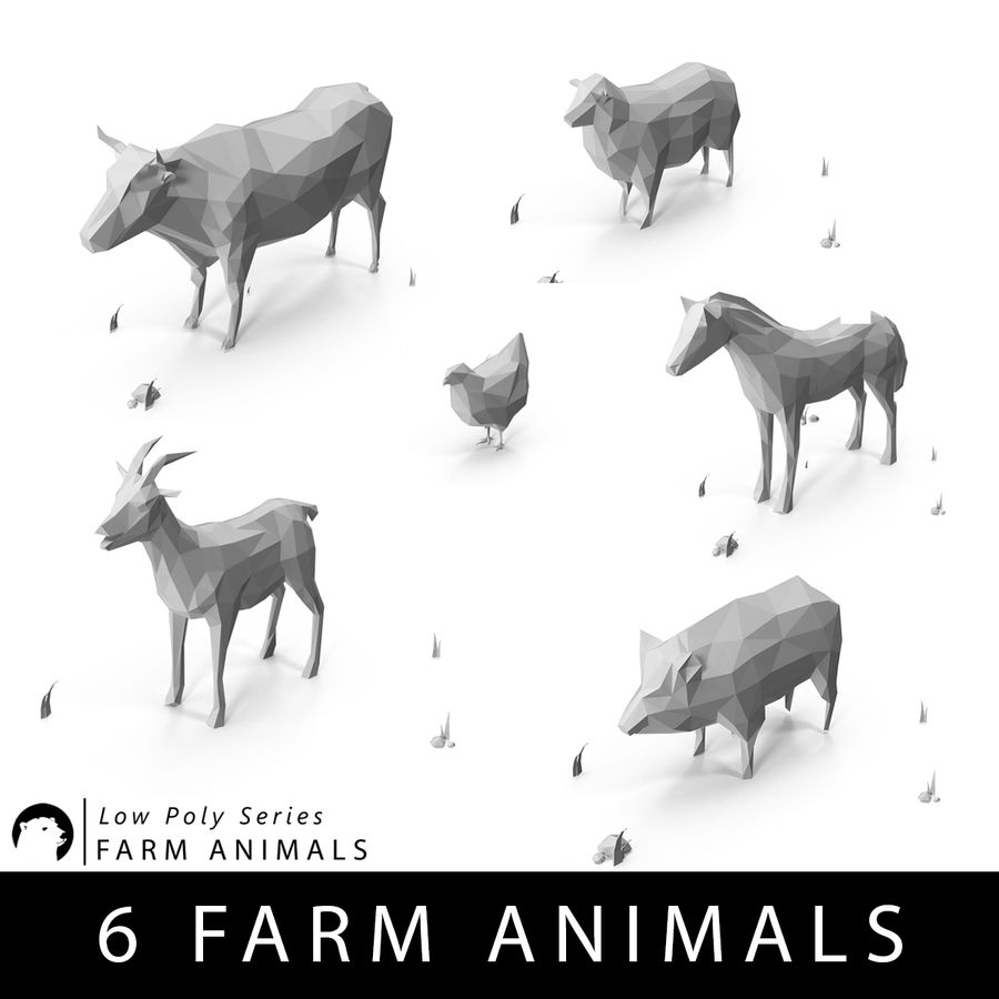Animaux de Ferme Low Poly royalty-free 3d model - Preview no. 1