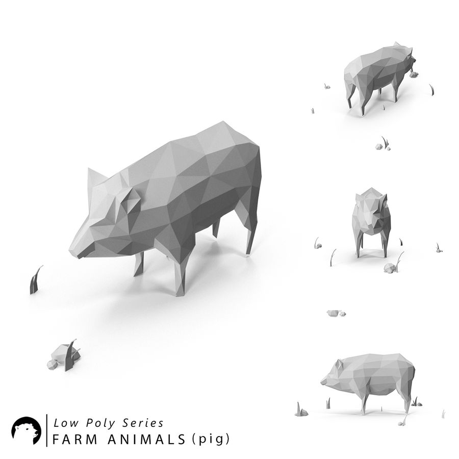 Animaux de Ferme Low Poly royalty-free 3d model - Preview no. 5