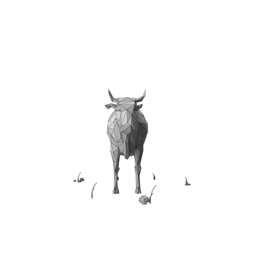 Low Poly Farm animals (bull) royalty-free 3d model - Preview no. 9
