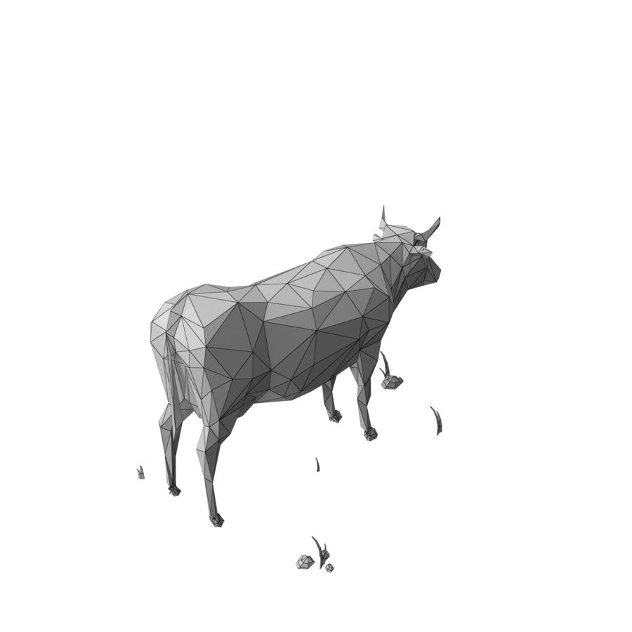 Low Poly Farm animals (bull) royalty-free 3d model - Preview no. 8