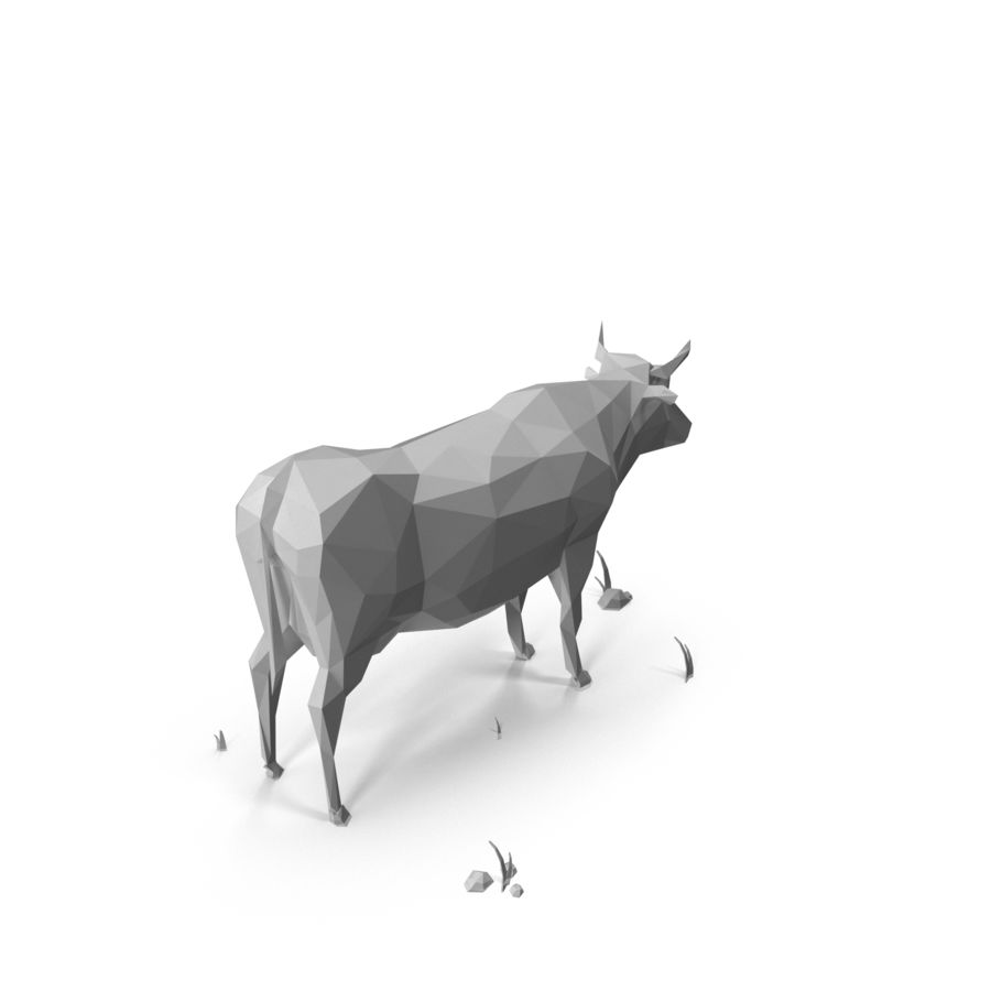 Low Poly Farm animals (bull) royalty-free 3d model - Preview no. 3