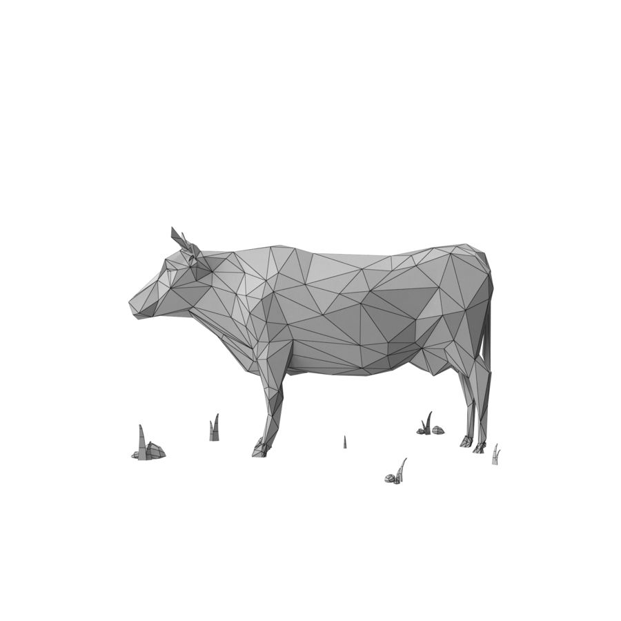Animali da allevamento Low Poly (toro) royalty-free 3d model - Preview no. 10