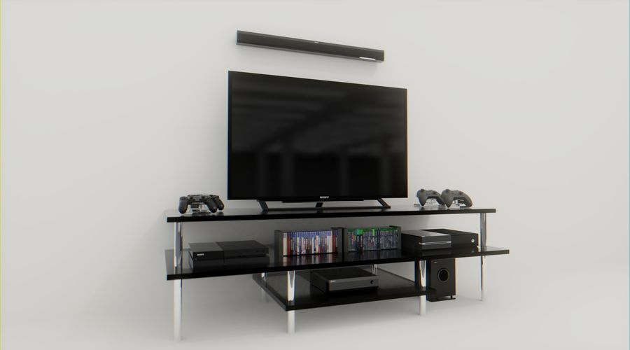 ps4, xbox one, tv and home theater royalty-free 3d model - Preview no. 2