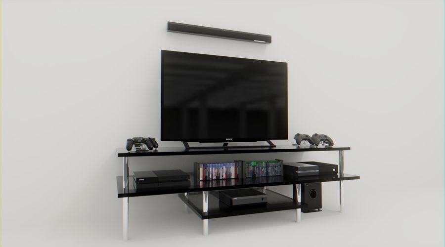 PS4, Xbox One, TV och hemmabio royalty-free 3d model - Preview no. 2