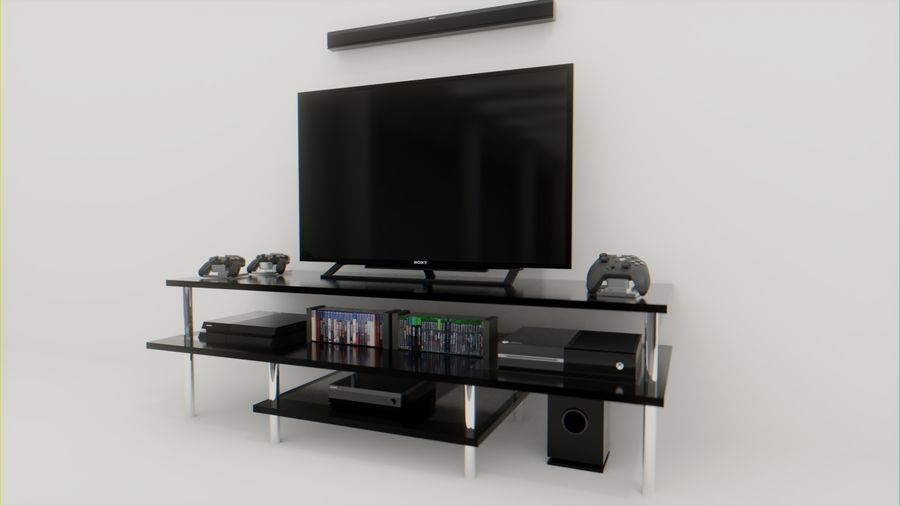 ps4, xbox one, tv and home theater royalty-free 3d model - Preview no. 1