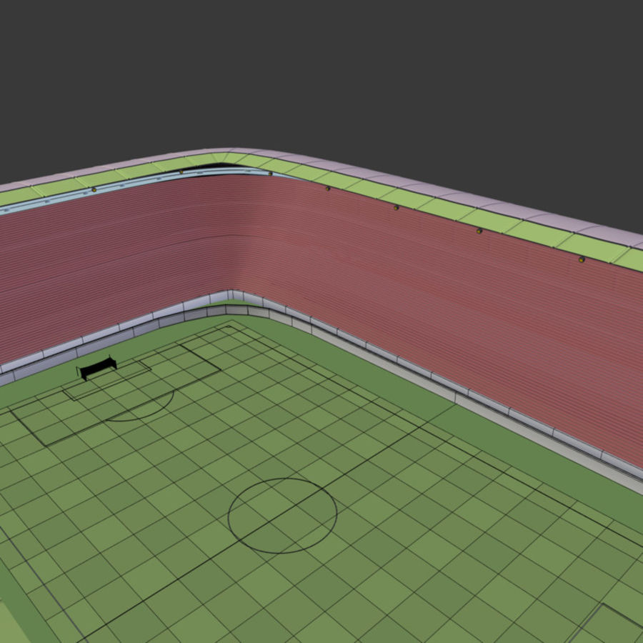 Stadion Low Poly Cartoon royalty-free 3d model - Preview no. 7
