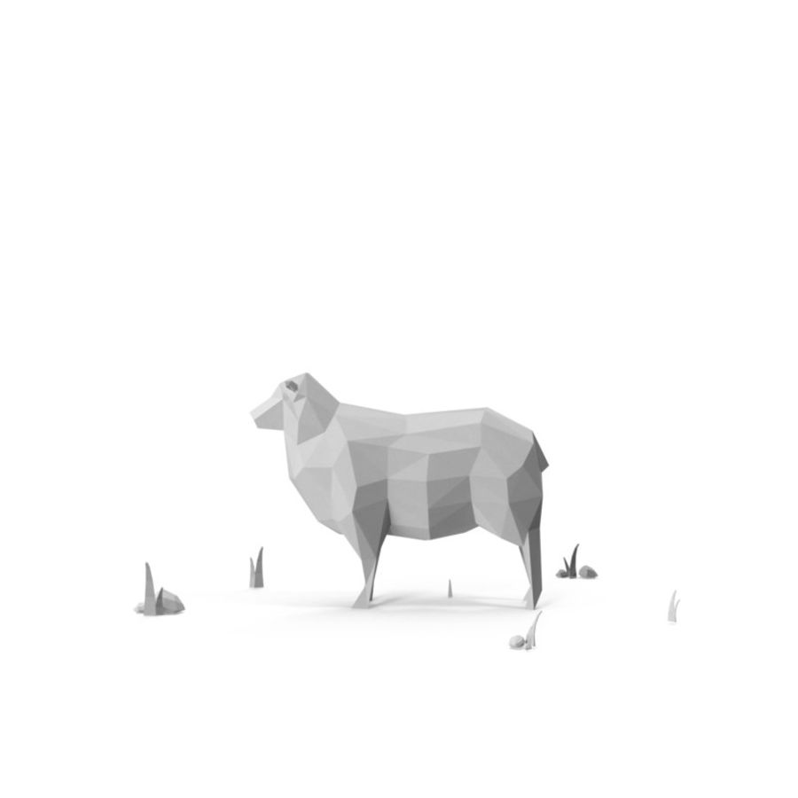 Animaux de Ferme Low Poly / Moutons royalty-free 3d model - Preview no. 5